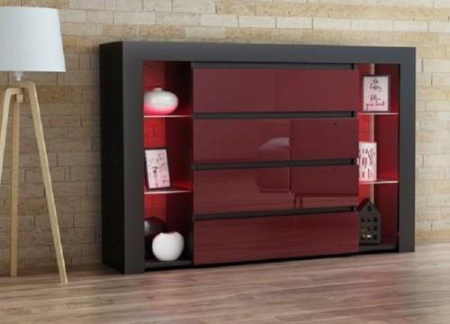Συρταριέρα APIS Μαύρο-Μπορντό